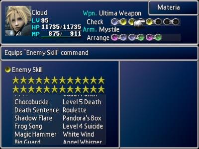 final fantasy 7 dragon force enemy skills